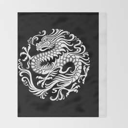 Traditional White and Black Chinese Dragon Circle Throw Blanket