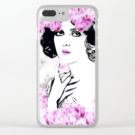 WOMAN PINK ORCHIDS AND MAGNOLIAS Clear iPhone Case