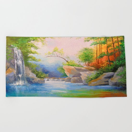 Waterfall in the woods Beach Towel