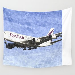 Qatar Airlines Airbus A380 Art Wall Tapestry