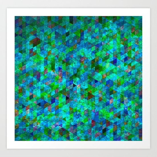 Colored Triangles Green / Blue Art Print