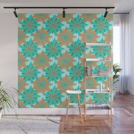 Living Coral and Turquoise Blue Doodle Art Flowers Wall Mural