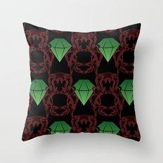 Emeralds & Demons [BLACK] Throw Pillow