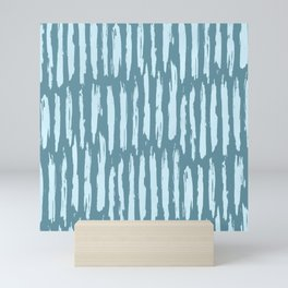 Vertical Dash Turquoise on Teal Blue Mini Art Print