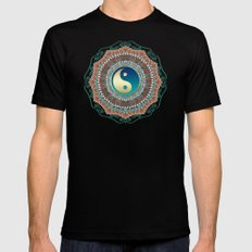 Bohemian Batik Yin Yang MEDIUM Black Mens Fitted Tee