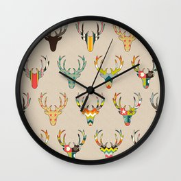 retro deer head on linen Wall Clock