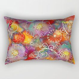 Floral Pattern on Painted Background Rectangular Pillow