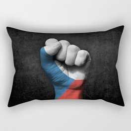 Czech Flag on a Raised Clenched Fist Rectangular Pillow