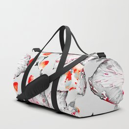 Red And Grey Floral Pattern Duffle Bag