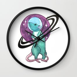 watercolor rat \ mouse - the astronaut Wall Clock
