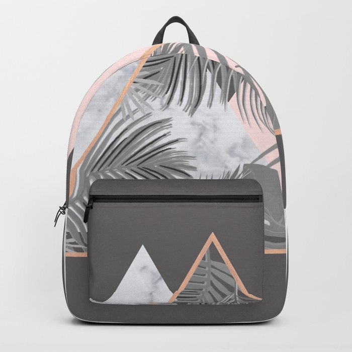 BLUSH GRAY COPPER MARBLE GEOMETRIC PATTERN Backpack