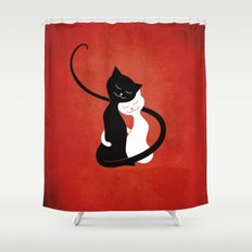 White And Black Cats In Love (red) Shower Curtain