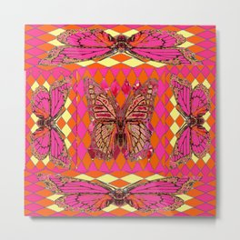 ABSTRACT MONARCH BUTTERFLY IN PINK-YELLOW Metal Print