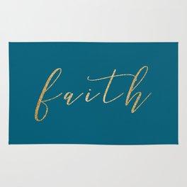 Gold Faith on Teal Rug
