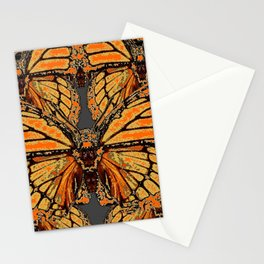 RUSTY-ORANGE CREAMY MONARCH BUTTERFLIES ABSTRACT Stationery Cards