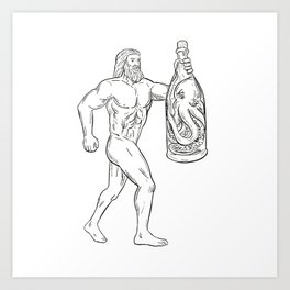 Hercules With Bottled Up Angry Octopus Drawing Black and White Art Print