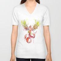phoenix V-neck T-shirts featuring Phoenix by Simona Borstnar