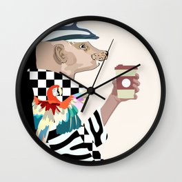 funny man (mink) in a fashion cap and coat with coffee Wall Clock