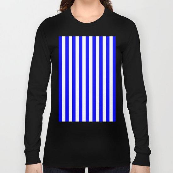 Vertical Stripes (Blue/White) Long Sleeve T-shirt