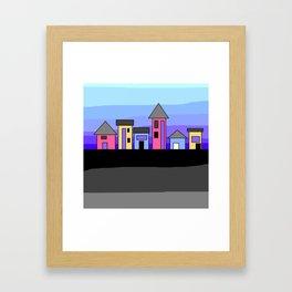 Pastel Evening Houses Framed Art Print