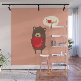 Cute cartoon bear holding heart. Wall Mural