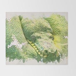Green snake Throw Blanket