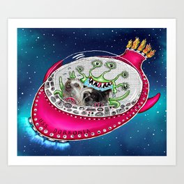 Chinese Crested Hairless Dogs in Space  Art Print