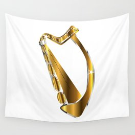 Golden Irish Harp Isolated Wall Tapestry