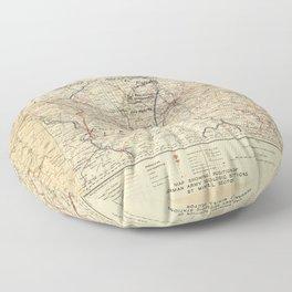 World War I German Army Positions Map (circa 1918) Floor Pillow