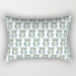 Cute Blue Owl Pattern Watercolor Print Rectangular Pillow