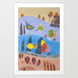 Abstract painting on silk. Original hand painted with birds. Quintet Art Print