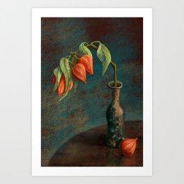 Stillife with Physalis Art Print
