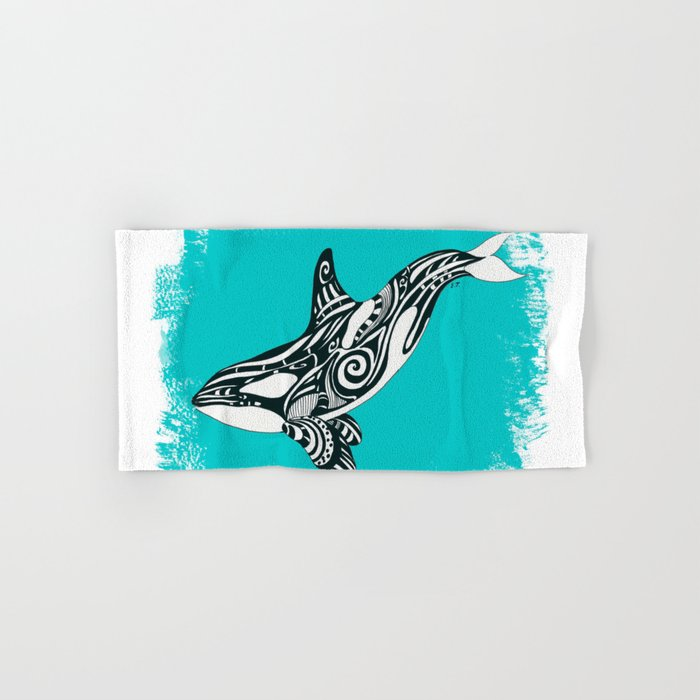 d0ff27ff5 Orca Killer Whale Teal Tribal Tattoo Hand & Bath Towel by ...