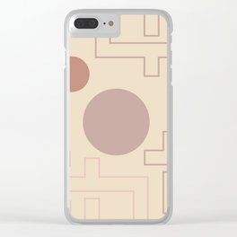 Setting Sun Rising Moon - Mid Century Modern Beige Clear iPhone Case