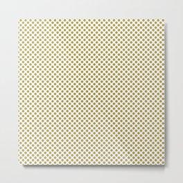 Golden Olive Polka Dots Metal Print