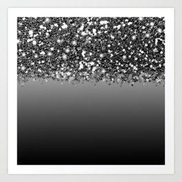 Black & Gunmetal Gray Silver Glitter Ombre Kunstdrucke