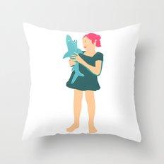Girl likes shark Throw Pillow
