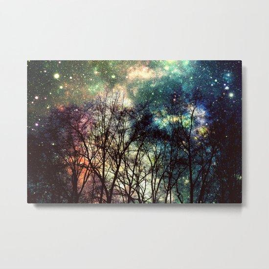 Black Trees Deeply Colorful Space Metal Print