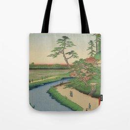Spring Trees on Aqueduct Ukiyo-e Japanese Art Tote Bag