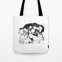 berserk Tote Bags featuring Guts & Griffith vs Zodd by Vortha