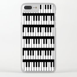 Black And White Piano Keys Pattern Clear iPhone Case