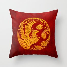 Traditional Yellow and Red Chinese Phoenix Circle Throw Pillow