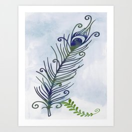 Watercolor Peacock Feather Art Print