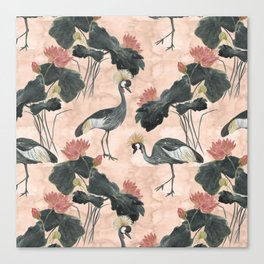 lotus and cranes Canvas Print