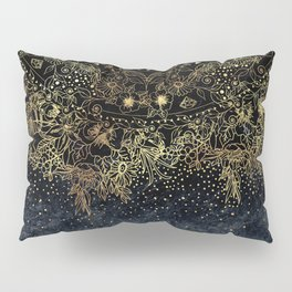 Stylish Gold floral mandala and confetti Pillow Sham