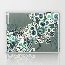 Diagonal flower – blue and green fiber Laptop & iPad Skin