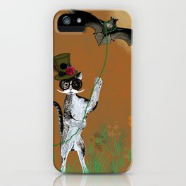 Cat Walking His Bat iPhone Case