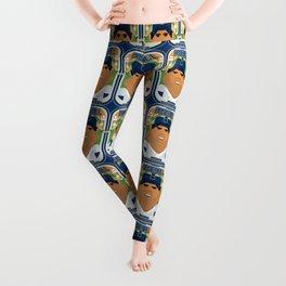Baseball Blue Pinstripes - Rhubarb Pitchbatter - Seba version Leggings