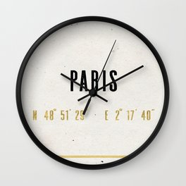 Vintage Paris Gold Foil Location Coordinates with historical map Wall Clock