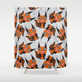 Funny orange monster Shower Curtain